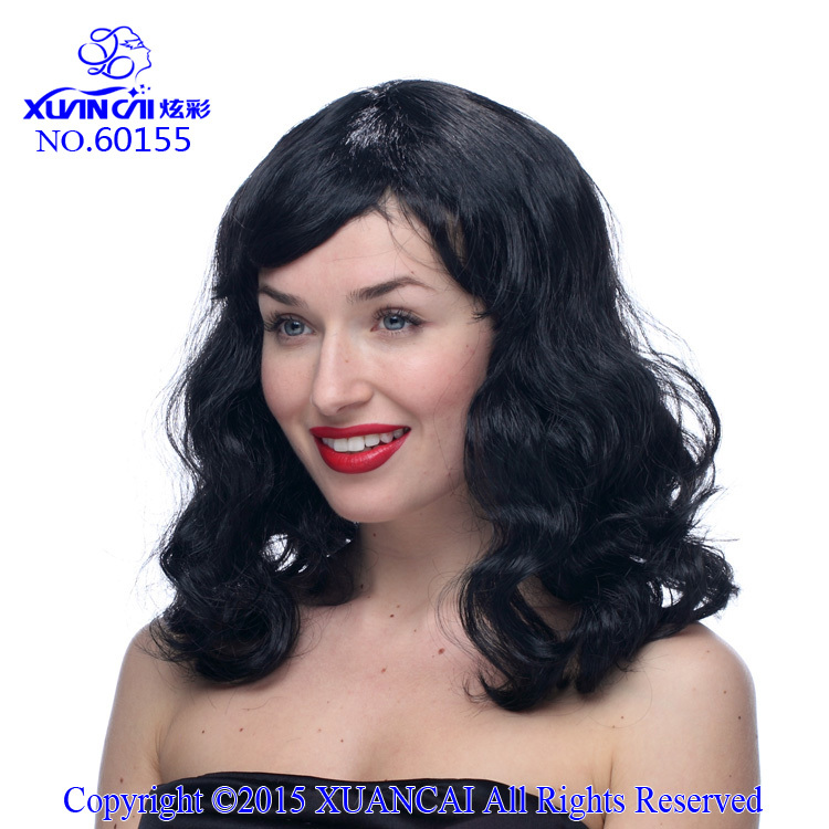 Free Shipping Promotion Cosplay Wigs 100% Polyester Hot Sale Cheap Synthetic Black Long Curly Wig(China (Mainland))