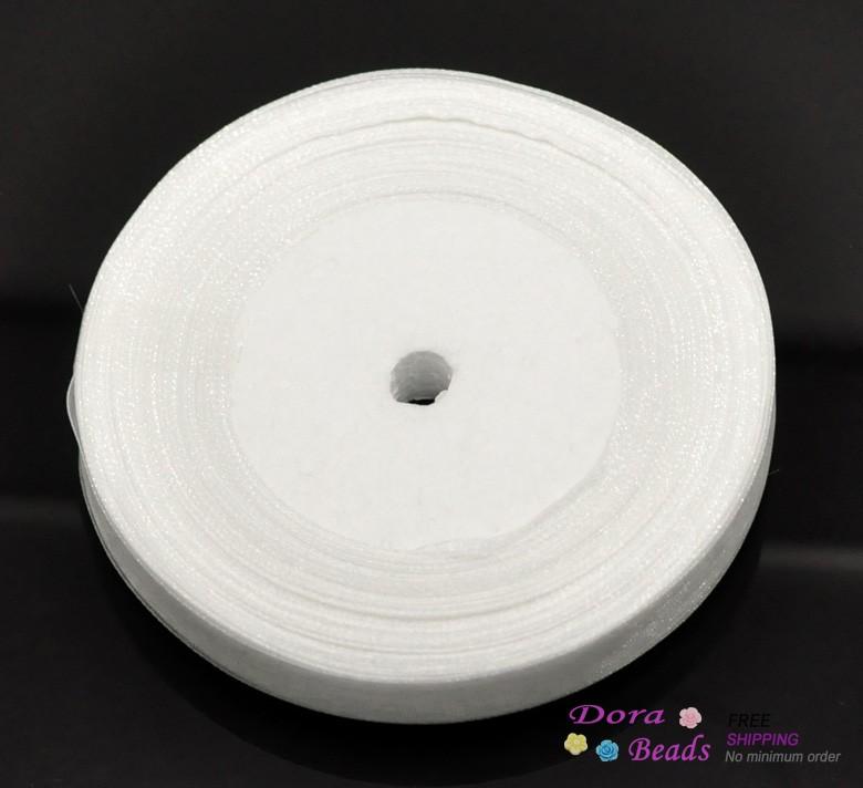 1Rolls 50Yards White 1 2 Wide Organza Ribbon Scrapbooking B18343