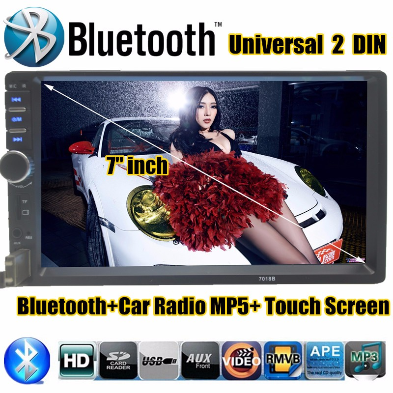7 2 DIN HD Touch Screen Universal In Dash Car Radio Stereo Head Unit MP4 MP3 Bluetooth Hands-free In Dash TF/USB for iPhone<br>