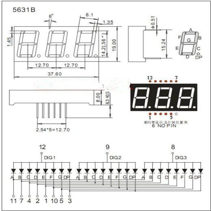 Großhandel Großhandels-10pcs 7 segment Common Kathode / Anode 3 Bit ...