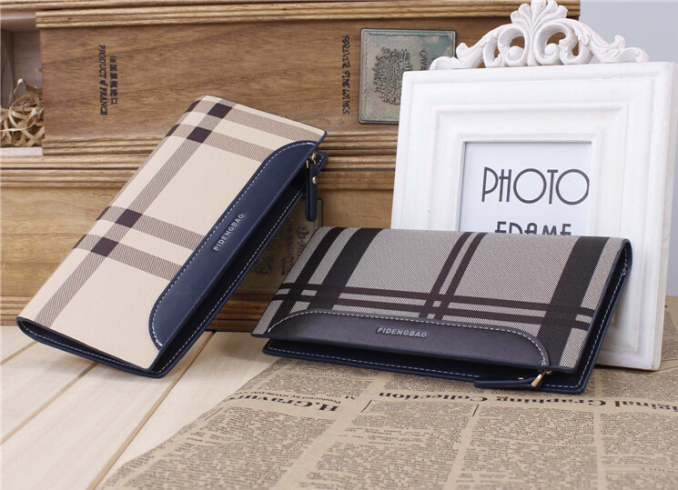 Fashion Travel Wallet 100% Genuine Leather Multi Credit Cards Long Plaid Clutch Handbag Cheap Gift Vertical Purse Free Shipping(China (Mainland))