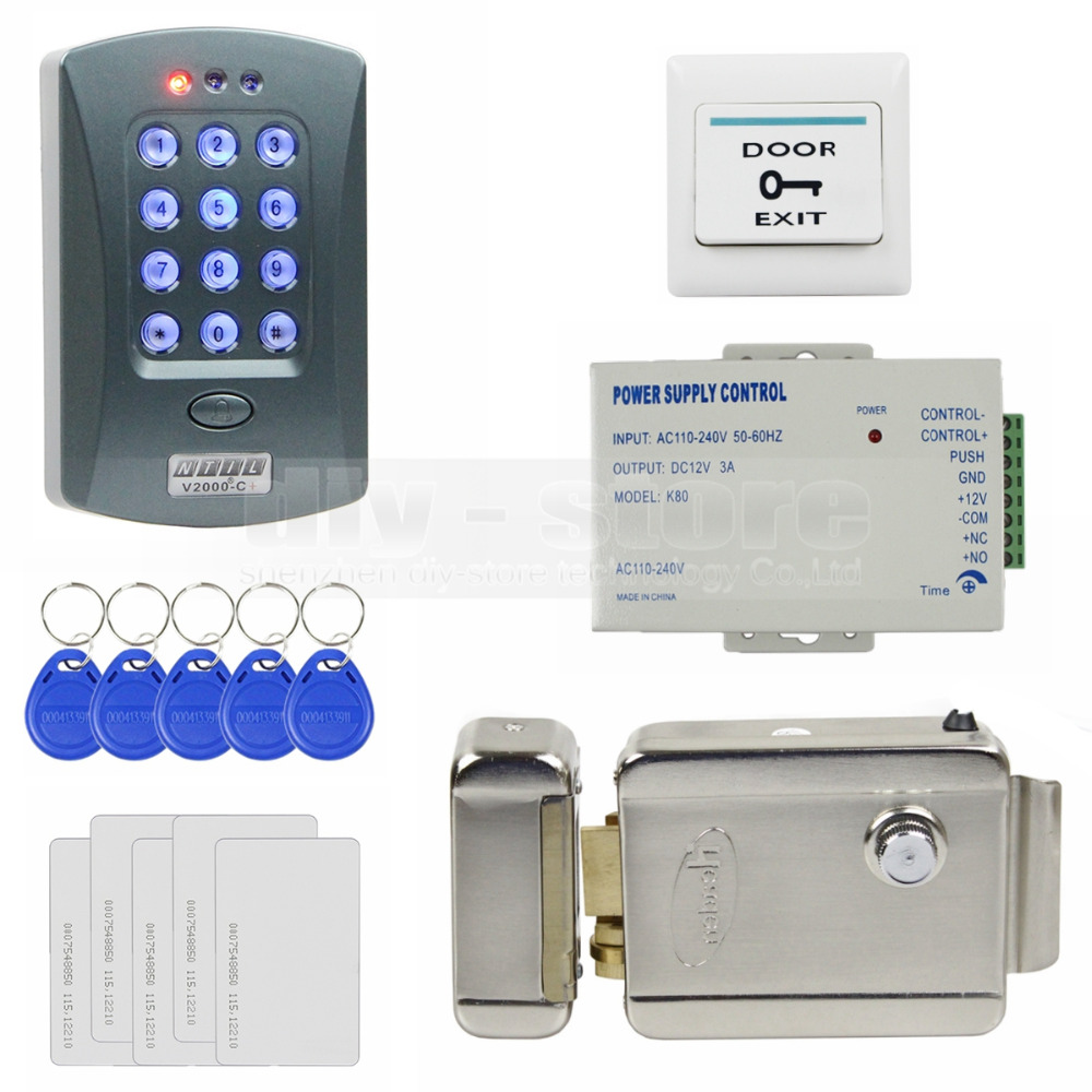 DIY Full Kit Set 125KHz RFID Password Keypad Access Control System Security Kit + Electric Lock V2000-C(China (Mainland))