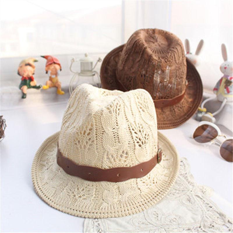 2016 fashion Paper Straw Unisex Fedora Trilby Gangster Cap Summer Beach Sun Topee Straw Panama Hat(China (Mainland))