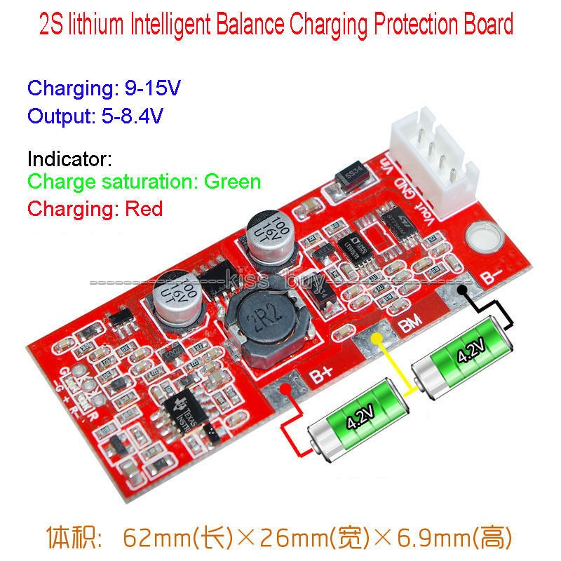 Intelligent Balance Charging Protection Board 2S Packs 18650 lithium Satellite solar panel charging power generation systems(China (Mainland))