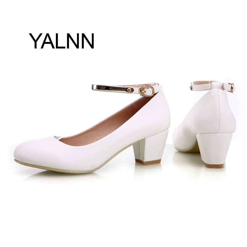 YALNN Women Bride Lady White Ivory Med Heel Comfortable Pumps Buckle Bridal Wedding Evening Dress Shoes(China (Mainland))