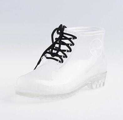 Fashion jelly shoes transparent female boots slip-resistant platform crystal shoes rubber shoes martin boots rainboots(China (Mainland))