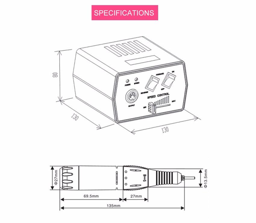 KADS 35W Black Pro Electric Nail Drill Machine Nail Art Equipment Manicure Pedicure Files Electric Manicure Drill & Accessory