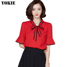 Plus size S-XXL blusas women blouses tops women chiffon shirt blouse bow half sleeve causal women shirts Red Black White