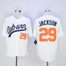 Free shipping Men's cheap Auburn Tigers Throwback VINTAGE Baseball jersey White #29 Bo Jackson Auburn Tigers University Jerseys(China (Mainland))