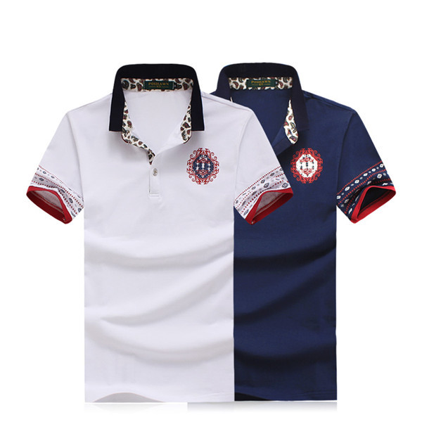 Floral-Short-Sleeve-Mens-Casual-Cotton-Polo-Shirt-Plus ...
