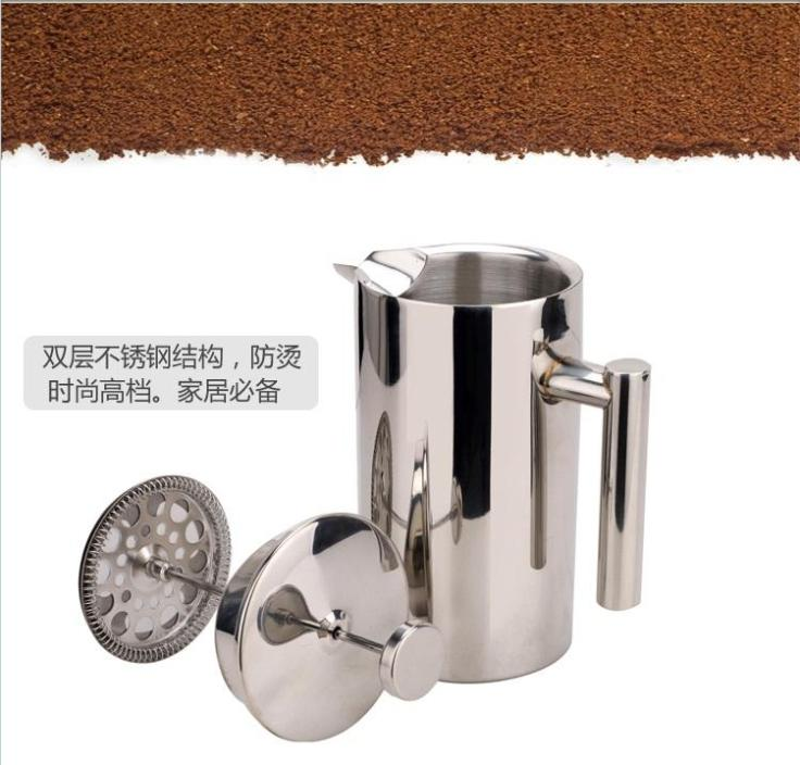 Factory direct sale 1L double walled Stainless Steel LFGB cappuccino coffee pot,teapot with ...