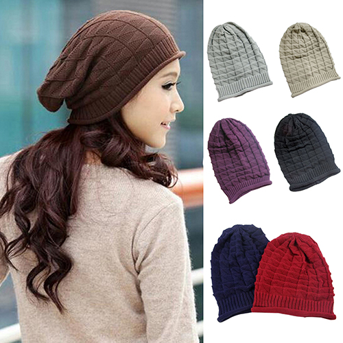 2016 Trendy Rhombus Pattern Tricorne Knit Winter Warm Crochet Hat Braided Baggy Beret Beanie Cap(China (Mainland))