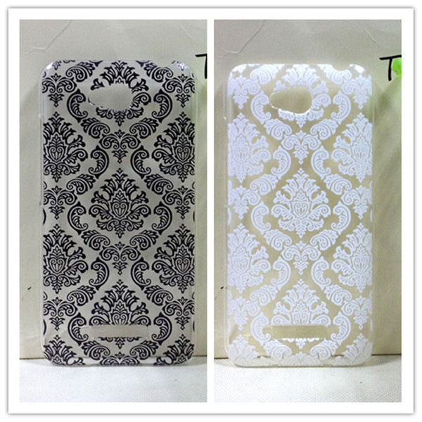 Vintage Black &White Paisley Flower Hard Floral Plastic Cases Skin Cover For HTC Desire 616 D616W(China (Mainland))