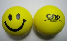 6.3cm dia custom logo pu material smiley face stress ball, anti stress ball,promotion gifts,in printing your logo 50pcs/lot(China (Mainland))