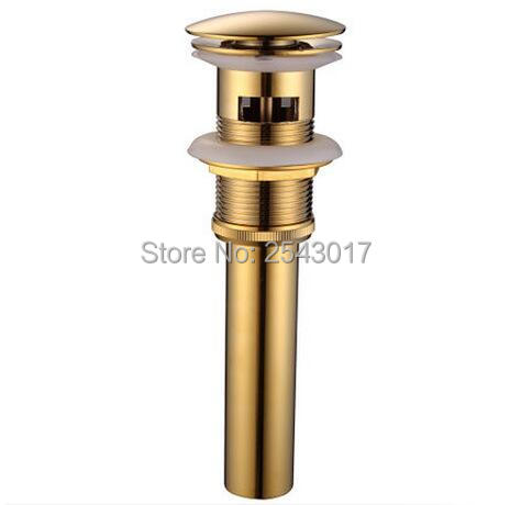 Newly Faucet Accessories Bathroom Sink Drain Strainer Golden Finish Click-clack Kitchen Waterlet with Overflow ZR2012(China (Mainland))