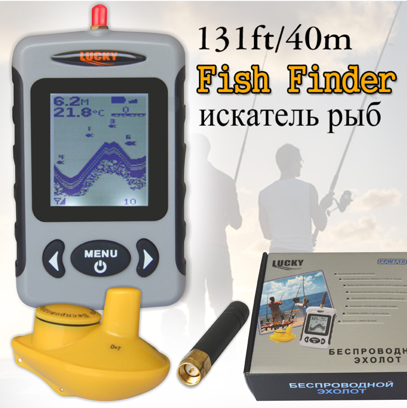 Russian Menu Wireless Sonar Portable Fish Finder Sensor Echo Sounder Alarm River Lake Sea Bed Live Update Contour 131ft/40M(China (Mainland))