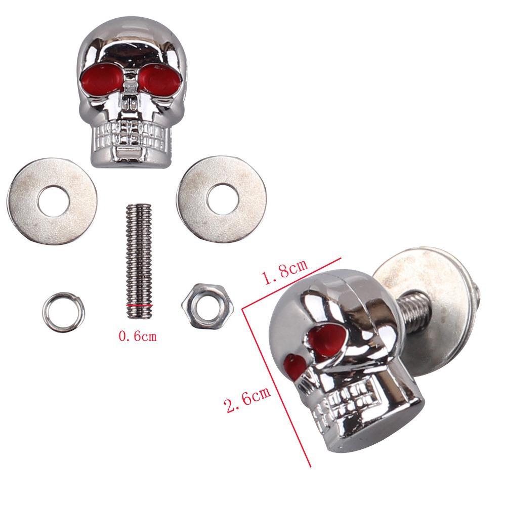 4pcs lot 6mm Chrome Red Eye font b Motorcycle b font Skull License Plate font b