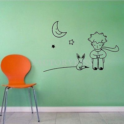 Free Shipping Removable Little Prince Fox Moon Star Wall Sticker Art Vinyl Decal 4007-307(China (Mainland))