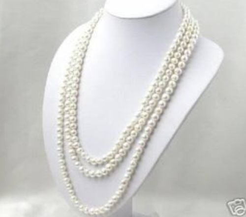 NEW SUPER LONG 100 INCHES 8-9MM WHITE AKOYA CULTURED PEARL NECKLACE ^^^@^Noble style Natural Fine jewe FREE SHIPPING<br><br>Aliexpress