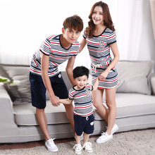 Family Matching Outfits Striped Family Clothing Mother/Mom and Daughter Dress Father Son Clothes Mom and Baby Clothes LK04