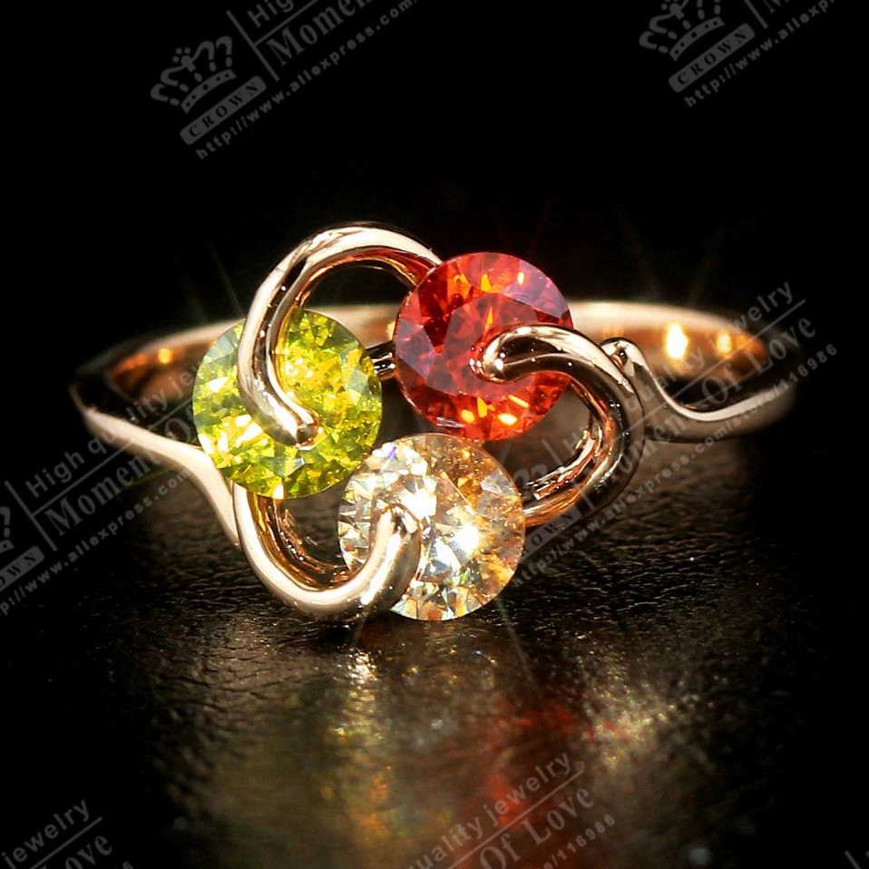 GR.NERH Fashion Ring Multi-color Crystals 18K Rose Gold Plated choice Finger (C20203R0230-2.1g) - Crown quality store