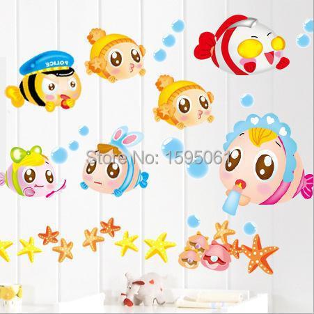 Mooie cartoon vis bubble zeesterren kleurrijke kinderkamer muursticker home decoratie badkamer - Originele toiletdecoratie ...