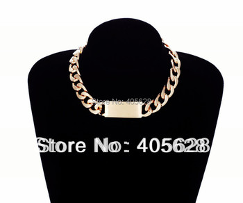 Fashion Heavy metal chunky chain Alloy ID necklace for Women