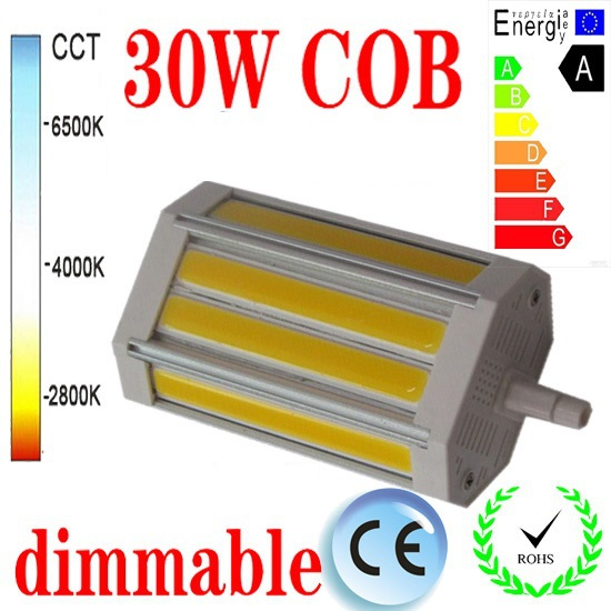 free shipping led cob r7s light 118mm 30w dimmable j118. Black Bedroom Furniture Sets. Home Design Ideas