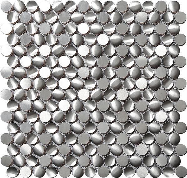 Stainless steel penny tile backsplash