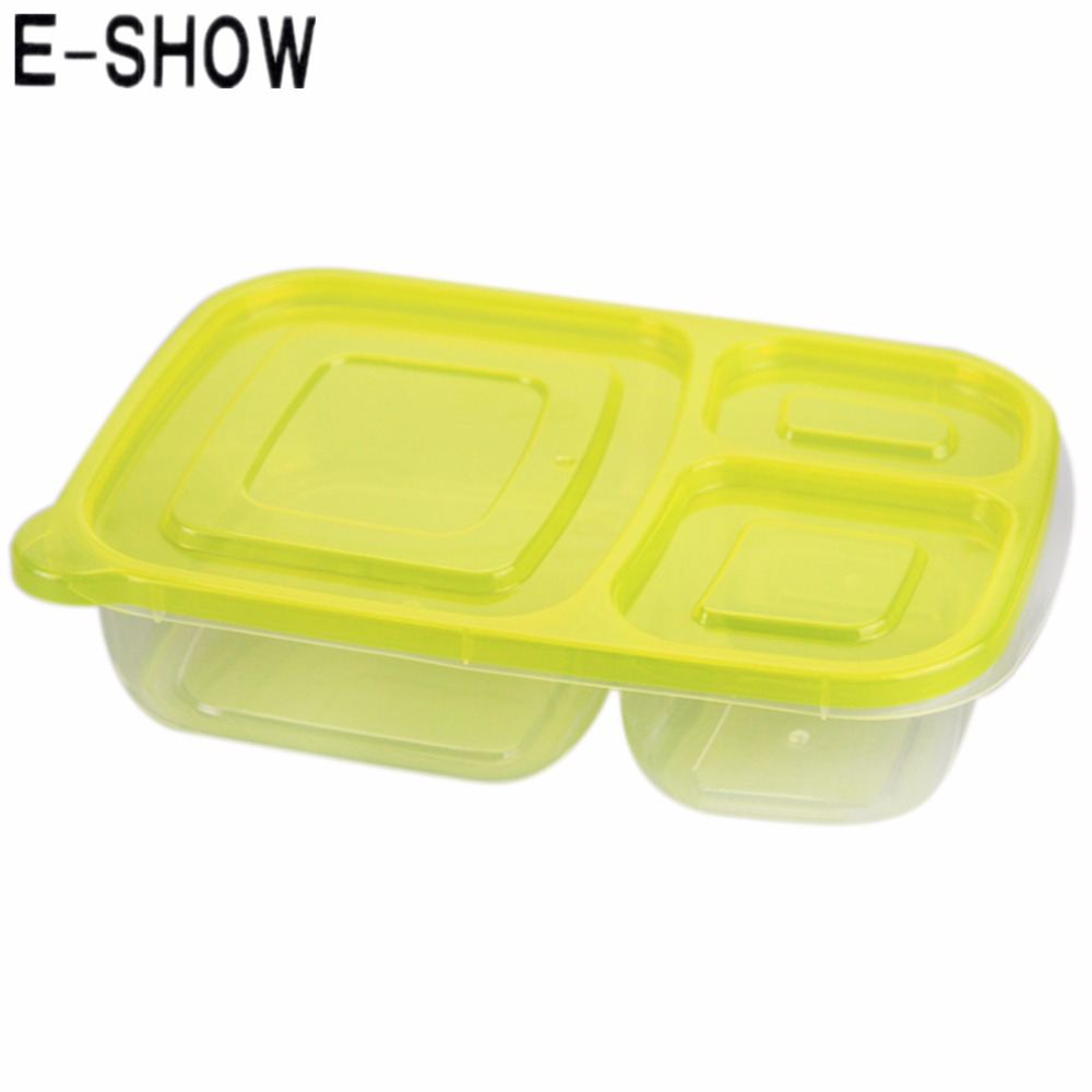 E-SHOW 1pcs 1000ML Rectangle Plastic Lunch Box Bento Box Food Container Preservation Box for home food organizer(China (Mainland))