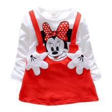 2016 Baby Girls Dress Cute Minnie Long Sleeve Spring Sport  Princess Style Party Clothing(China (Mainland))
