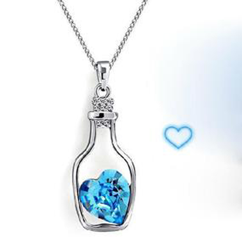 Design jewelry Drift bottle hollow crystal pendant necklace - Westlife shop store