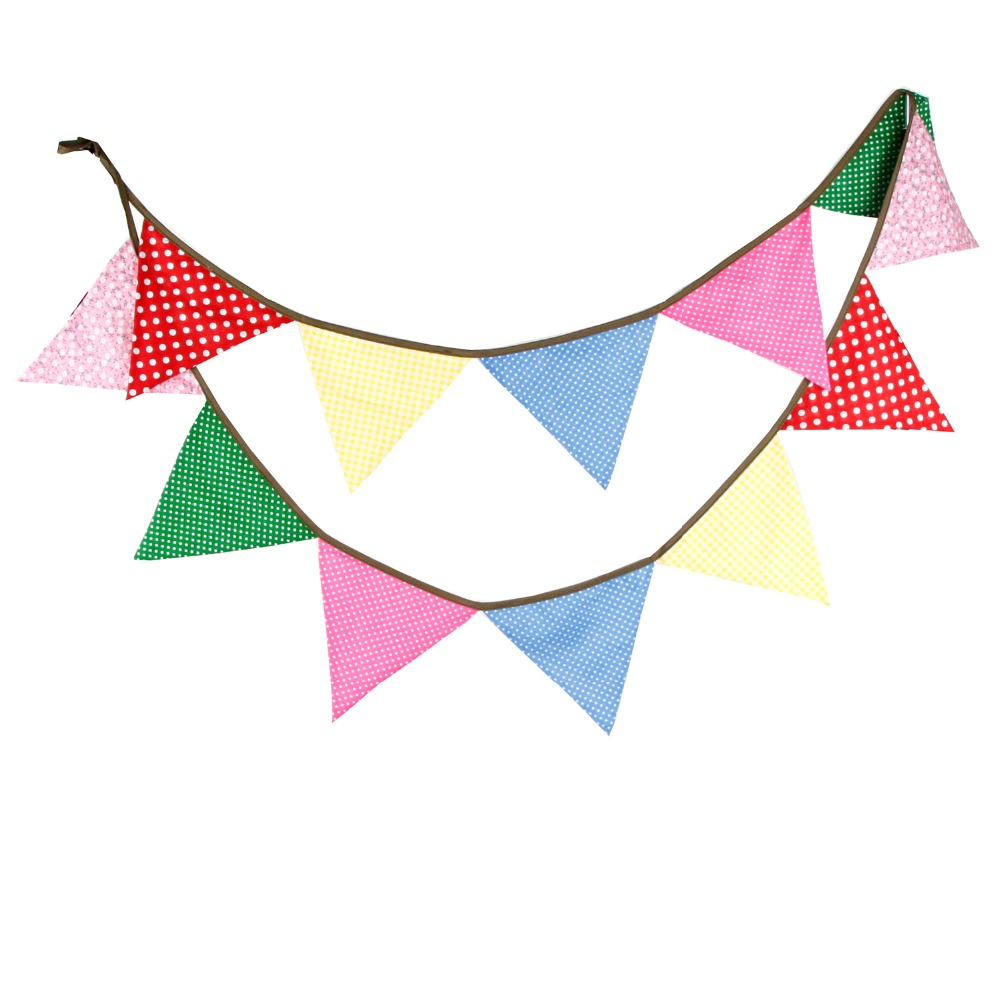 12 Flags 3.2m Colorful Fabric Bunting Handmade Personality Wedding Happy Birthday Party Decoration wedding favors and gifts(China (Mainland))