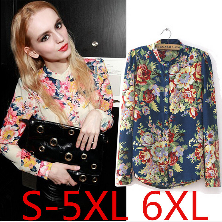 2015 Hot Sale Fashion Vintage Floral Print Pattern Chiffon Blouse Casual Women Long Sleeve Shirt Tops 2 Colors Plus Size S-6XL(China (Mainland))