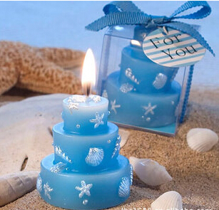 10pcs/lot Bule ocean design wedding candle birthday party candle wedding favor gift(China (Mainland))