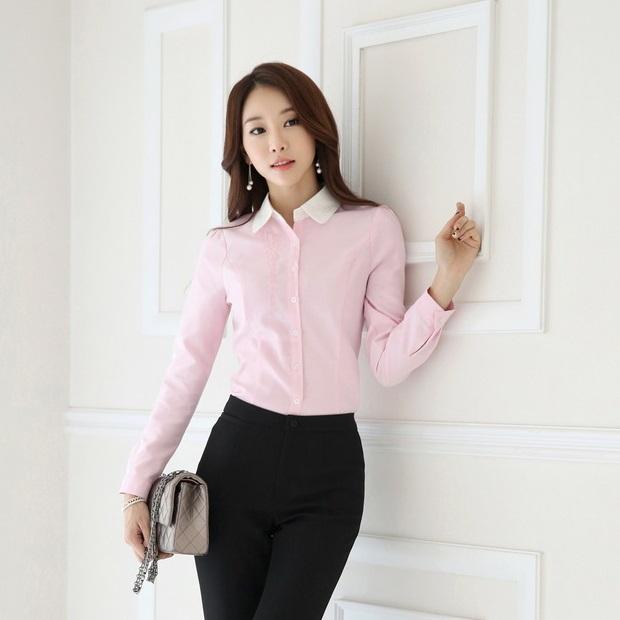 Fashion Female Pink Shirts Women Work Blouse Long Sleeve Ladies Office Uniform OL Style - Kidmall Online Store store