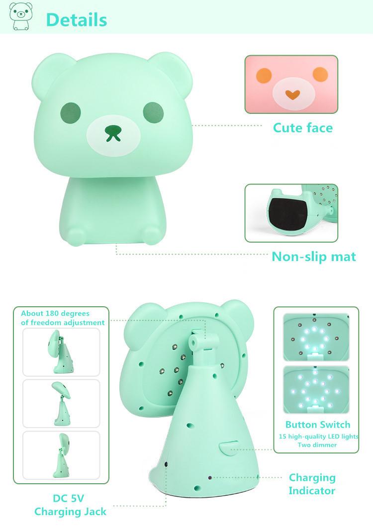 Купить Симпатичный медведь USB светодиодный Настольная лампа животных Мультфильм Чтение Night Light настольная лампа Диммер лампа прикроватная Лампа