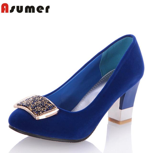 Asumer элегантный горный хрусталь женщины туфли на высоком каблуке квадратный каблук ...