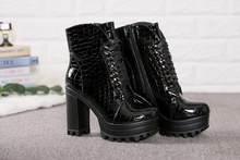 JCHQD 2019 moda Martin çizmeler kadın dantel up yumuşak deri platform ayakkabılar kadın botları yüksek topuklu avrupa boyutu 36- 41(China)