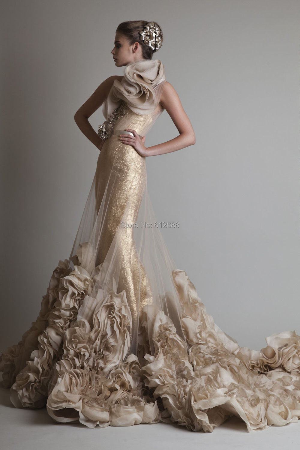 custom made one-shoulder sleeveless floor-length appliques beading Sequined Lace evening dresses - holy love store