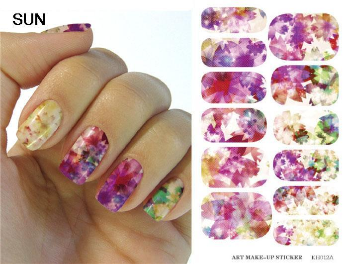 Minx Water Transfer Nails Sticker Colorful Maple Leaf Design Nail Stickers Harajuku Manicure Bright Flowers Nail Wraps Decals(China (Mainland))