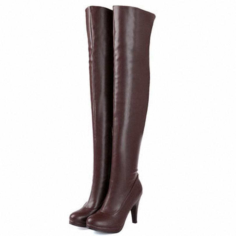 ENMAYER Big Size 34-47 Over the Knee Boots for Women Sexy High Heels Long boots  Winter Shoes Round Toe Platform Knight Boots<br><br>Aliexpress