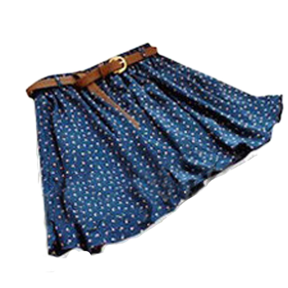 New 2015 Fashion 4 Colors Pleated Floral Chiffon Women Ladies Cute Mini Skirt Belt Include WF-3830\br(China (Mainland))