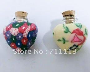 1ml Heart design perfume bottle Glass Spell Bottle Pendant car perfume pendant suitable for oils, perfumes free shipping(China (Mainland))