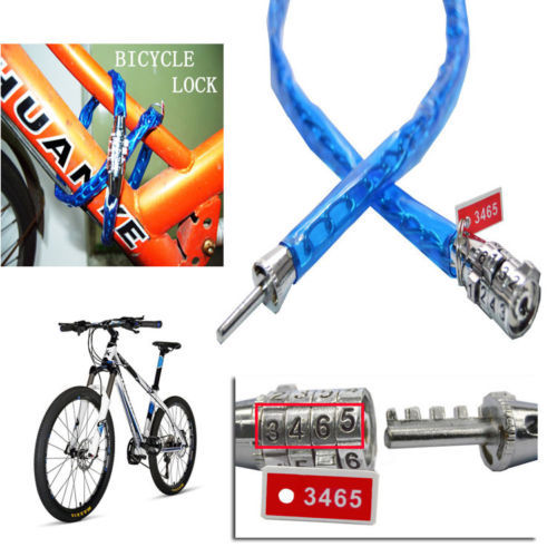 Universal Anti-theft Bike Bicycle Safety Password Lock Cycling Security Cable bule green(China (Mainland))