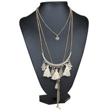 2016 Fashion Bohemian Multi layer Chain Long Necklaces & Pendants Gypsy Ethnic Vintage Statement Jewelry Maxi Necklace for Women(China (Mainland))