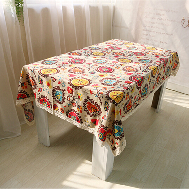 New Exotic Flowers National Wind Sunflower Design House Restaurant Cotton And Linen Tablecloth Table Cloth Pillowcase(China (Mainland))