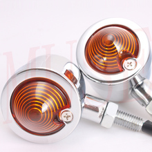 2x Plating Motorcycle Turn Signal Light For Chopper Bobber Cafe racer Lighting color Amber(China (Mainland))