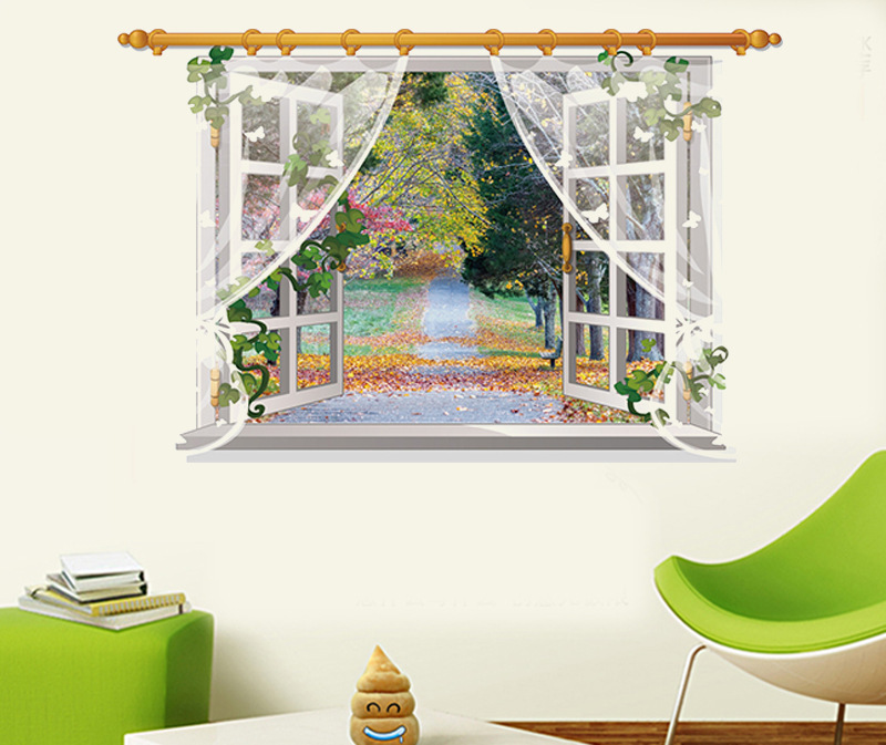 3D Through The Wall Stickers Autumn Landscape Home Decoration DIY Living Room Wall Decal Movie Mural Art(China (Mainland))