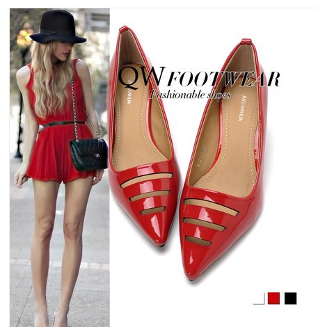 women shoes Women's high-heeled pointed toe cutout female leather red wedding sandals hollow - Love beautiful woman's club store